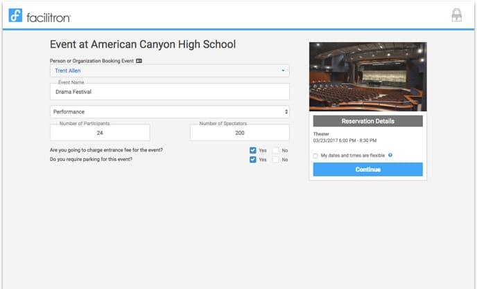 Reservation checkout screenshot